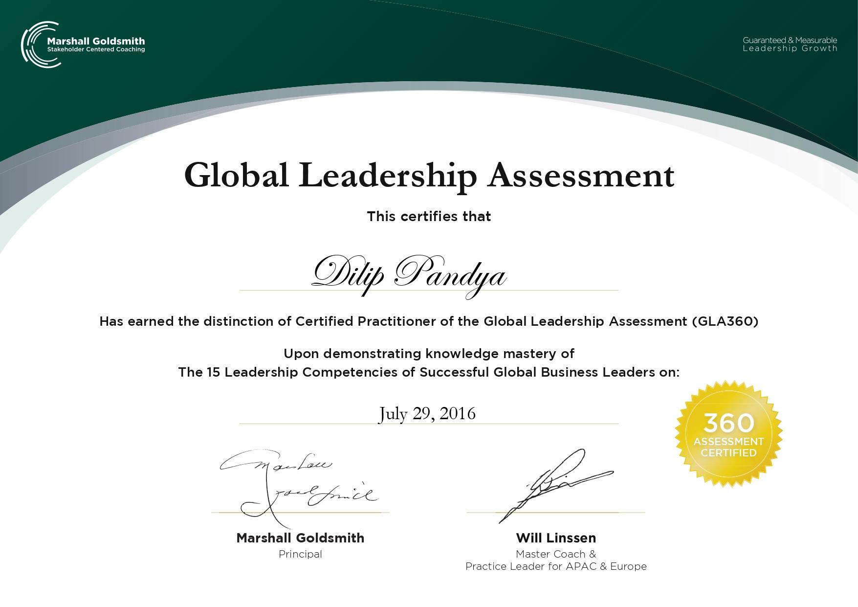 GLA certificate -Dilip Pandya