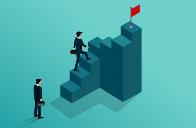 businessmen-competing-go-target-red-flag-staircase_82984-235